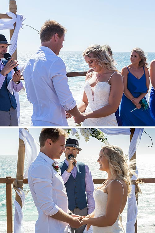 Beach Wedding: Amanda & Gaz exchange vows on the Jindalee Beach Deck in WA