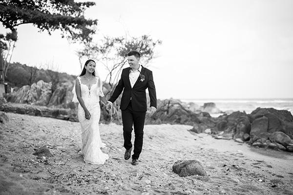 Stroll on the beach for their wedding | Nat & Tom