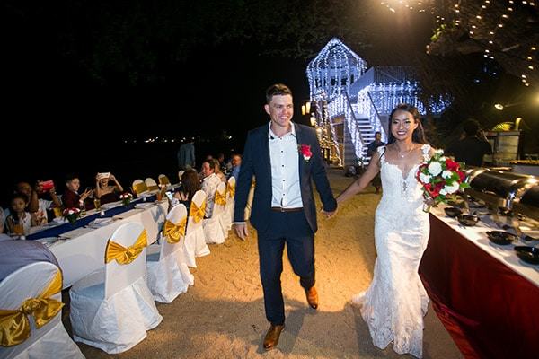 Nat & Tom at their beach wedding in Koh Samui