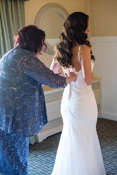 Bride Monica, prepares for her wedding in Wisconsin