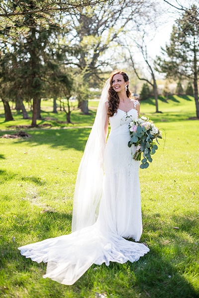 Bride, Monica wore the Alaska gown from Peter Trends Bridal