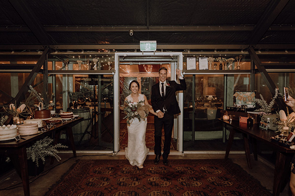 Bride and groom arrive at Little Creatures Brewery Fremantle
