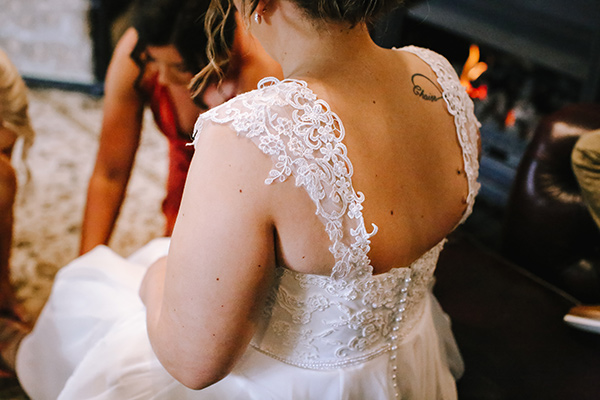 Lace cap sleeves were a feature on Brianna's bridal gown